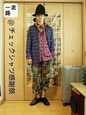 「キモウチェックシャツ長袖/553443(RAGEBLUE)」 using this 走一路 looks