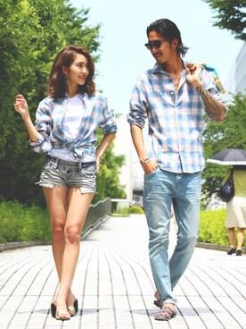 DOWBL|江崎龍哉さんの「ビエラチェックシャツ(DOWBL)」を使ったコーディネート