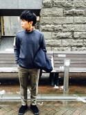 shota kimuraさんの「ポリエステルカルゼストレッチスリムスラックスクロップドパンツ(ADAM ET ROPE'|アダム エ ロペ)」を使ったコーディネート