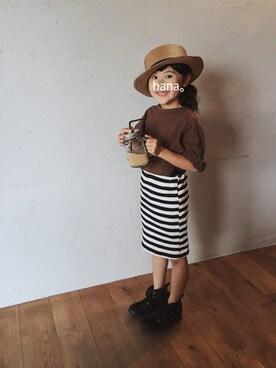 hana。さんの「ananちゃんのボーダースカート(韓国子供服)」を使ったコーディネート