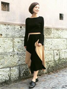 GRACE CONTINENTAL本社|kawanishiさんの「切替配色スカート(GRACE CONTINENTAL|グレースコンチネンタル)」を使ったコーディネート