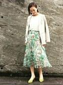 kawanishiさんの「ボタニカルプリーツスカート(GRACE CONTINENTAL|グレースコンチネンタル)」を使ったコーディネート