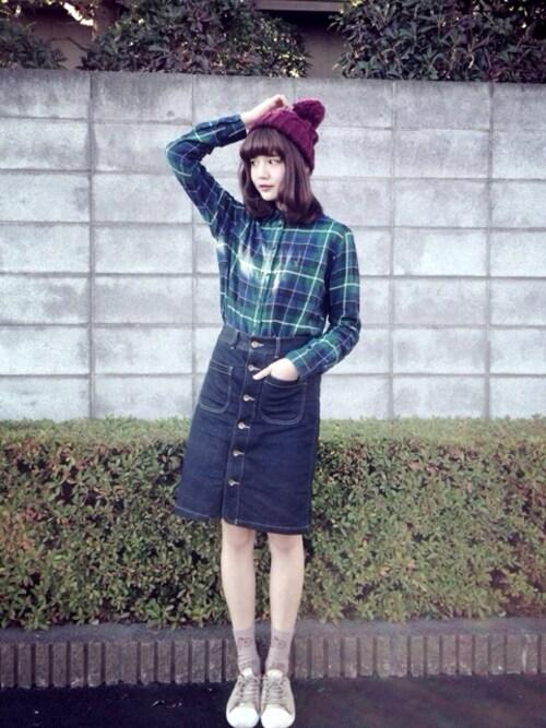 村田倫子さんの「チェックシャツ(UNIQLO)」を使ったコーディネート