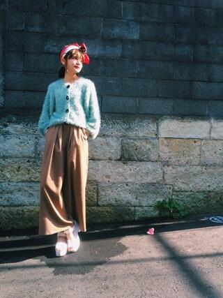 村田倫子さんの「CAROLINA GLASER / フェザーヤーン カーディガン(CAROLINA GLASER|カロリナ グレイサー)」を使ったコーディネート