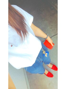 「JS M NANTUCKET VNECK S/S TEE(TOMMY HILFIGER)」 using this mayu looks