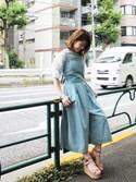 舟山久美子♡くみっきーさんの「デニムレースアップロンパース(MICOAMERI|ミコアメリ)」を使ったコーディネート