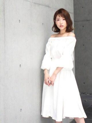 舟山久美子♡くみっきーさんの「ボリュームスリーブチュニック(MICOAMERI|ミコアメリ)」を使ったコーディネート