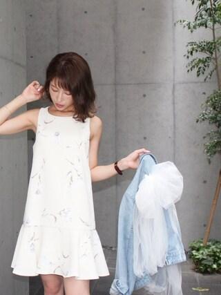 舟山久美子♡くみっきーさんの「フラワーワンピース(MICOAMERI|ミコアメリ)」を使ったコーディネート