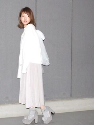舟山久美子♡くみっきーさんの「モコモコバックチュールプルオーバー(MICOAMERI|ミコアメリ)」を使ったコーディネート