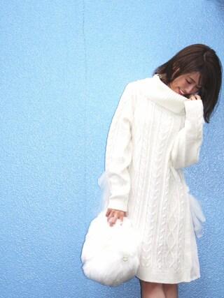 舟山久美子♡くみっきーさんの「サイドチュールリボンニットワンピ(MICOAMERI|ミコアメリ)」を使ったコーディネート