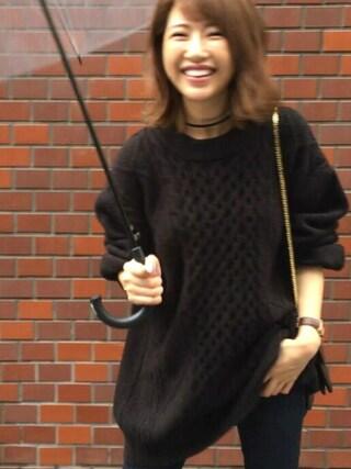 舟山久美子♡くみっきーさんの「【ZOZO限定】ビッグシルエットバックチュールリボンニット(MICOAMERI|ミコアメリ)」を使ったコーディネート