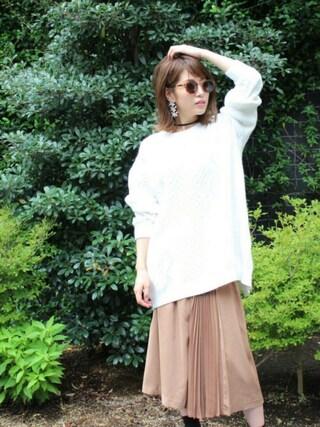 舟山久美子♡くみっきーさんの「アシンメトリープリーツスカート(MICOAMERI|ミコアメリ)」を使ったコーディネート