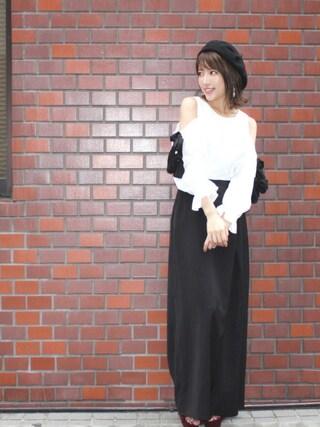 舟山久美子♡くみっきーさんの「ダブルリボンブラウス(MICOAMERI|ミコアメリ)」を使ったコーディネート