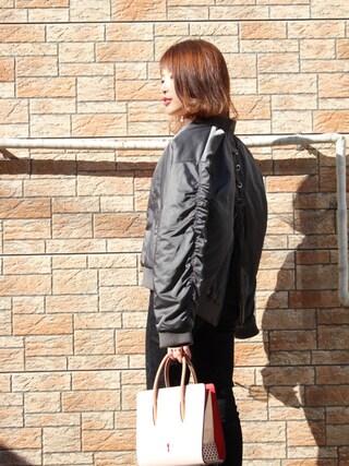 舟山久美子♡くみっきーさんの「レースアップバックチュールブルゾン(MICOAMERI|ミコアメリ)」を使ったコーディネート