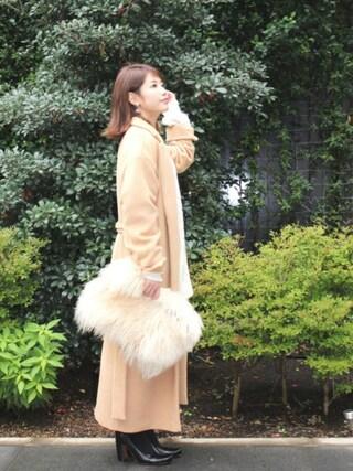 舟山久美子♡くみっきーさんの「ロングガウンコート(MICOAMERI|ミコアメリ)」を使ったコーディネート
