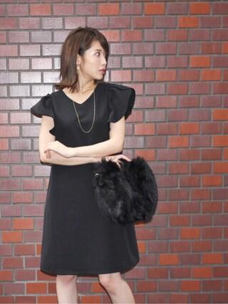 舟山久美子♡くみっきーさんの「バックチュールリボンレディワンピース(MICOAMERI|ミコアメリ)」を使ったコーディネート