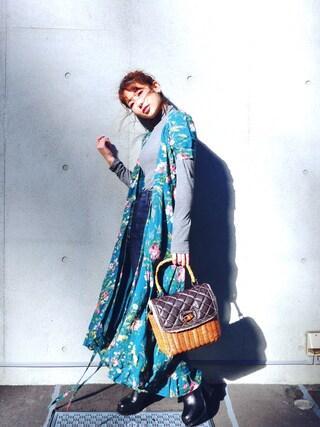 舟山久美子♡くみっきーさんの「フローラルプリント ガーゼ ラップ ドレス(DENIM & SUPPLY|デニム&サプライ)」を使ったコーディネート