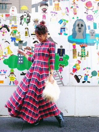 舟山久美子♡くみっきーさんの「プラッド ボタンフロント マキシドレス(DENIM & SUPPLY|デニム&サプライ)」を使ったコーディネート