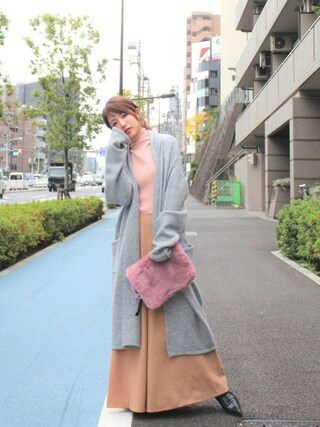 舟山久美子♡くみっきーさんの「ニットコーディガン(MICOAMERI|ミコアメリ)」を使ったコーディネート