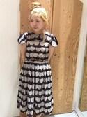 アトリエドゥサボンさんの「どんぐりプリント ギャザースカート(peu pres|プープレ)」を使ったコーディネート