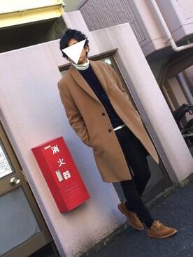 にっしーさんの「メンズノンノ【MEN'S NON-NO】11月号 P122 野村周平さん着用商品 ショールカラースムースメルトンチェスターコート(UNION STATION)」を使ったコーディネート