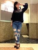 Marinaさんの「ウエスタン風刺繍入りプルオーバー(w closet|ダブルクローゼット)」を使ったコーディネート