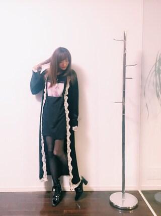 菅野結以さんの「Velvet Lace Gown(Crayme,|クレイミー)」を使ったコーディネート