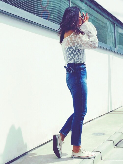NABEさんの「HIGH WAIST SKINNY DENIM PANTS(holiday)」を使ったコーディネート