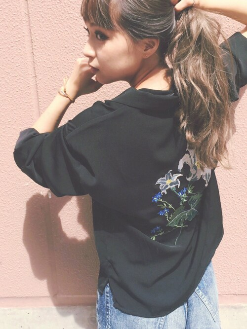 Chie Katoさんの「【CASUAL】パジャマ刺繍シャツ(MURUA)」を使ったコーディネート