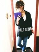 tomoyoさんの「起毛カラーシャツ/チュニック/オーバーサイズ(NEY ニー)」を使ったコーディネート