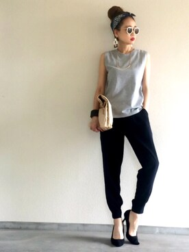 Yukie♡iさんの「16/-ノースリーブ Tシャツ#(journal standard L'essage|ザラ)」を使ったコーディネート