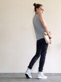 Yukie♡iさんの「PAPER CRUMPLE BAG(AMERI|アメリヴィンテージ)」を使ったコーディネート