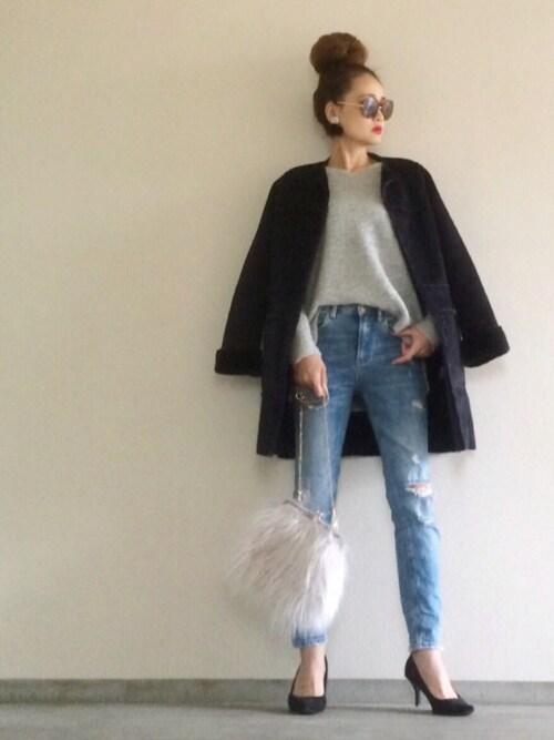 Yukie♡iさんの「フェイクムートンノーカラーコート(who's who Chico)」を使ったコーディネート