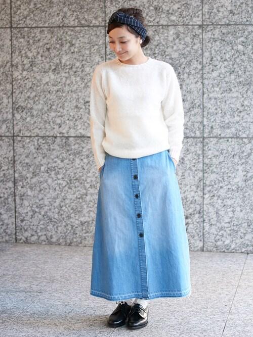 mikikoさんの「デニムマキシカットオフスカート(LE JUN)」を使ったコーディネート
