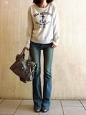「Levi's® High-Rise Flared Jeans, Springtide Indigo(Levi's)」 using this よんよん looks