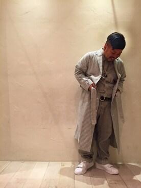 ビューティ&ユース ユナイテッドアローズ お台場店 Isao Takahashiさんのその他アウター「BY TRADITIONAL ヘリンボーンストライプ パジャマガウンо(BEAUTY&YOUTH UNITED ARROWS ビューティアンドユースユナイテッドアローズ)」を使ったコーディネート