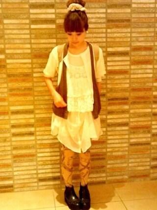 ロシアン佐藤♡hitomi♡俄羅斯佐藤さんの「チェーン柄タイツ(不明)」を使ったコーディネート