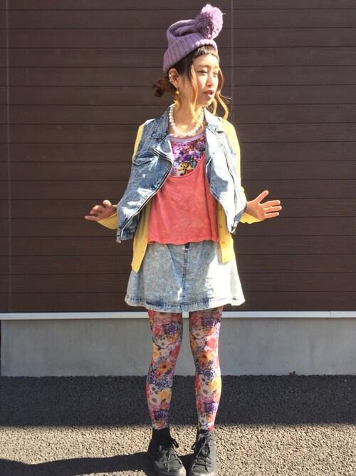 ロシアン佐藤♡hitomi♡俄羅斯佐藤さんの「デニムスカート(loaf)」を使ったコーディネート