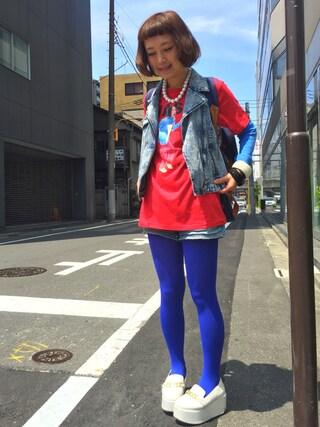 ロシアン佐藤♡hitomi♡俄羅斯佐藤さんの「∴WEGO/永野コラボTシャツ(WEGO|ウィゴー)」を使ったコーディネート