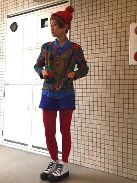 ロシアン佐藤♡hitomi♡俄羅斯佐藤さんの「花柄半袖カットソー(SLY)」を使ったコーディネート