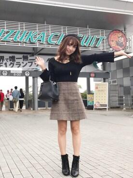 MERCURYDUO|久奈さんの「グレンチェック台形ミニスカート(MERCURYDUO)」を使ったコーディネート