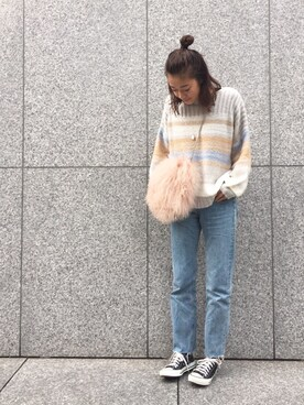 yuumiさんの「マルチカラーボーダーニットトップス(Vicente|ヴィセンテ)」を使ったコーディネート