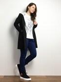 natsumiさんの「【X-girl sports】ZIP UP SWEAT HOODY /スポーツウエア /スポーツグッズ/運動用/普段使い/ランニング/ジョギング/Tシャツ/パーカ/フード(X-girl|エックスガール)」を使ったコーディネート