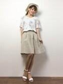 natsumi imaiさんの「綿麻素材ストライプタックスカート[Re:EDIT/リエディ][春夏新作](Re:EDIT|リエディ)」を使ったコーディネート