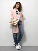 natsumi imaiさんの「2WAYボーダーストローバッグ/クラッチバッグ/ビーチバッグ/BAG[Re:EDIT/リエディ][春夏新作](Re:EDIT|リエディ)」を使ったコーディネート