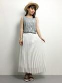 natsumi imaiさんの「シフォンプリーツロングスカート(CIAOPANIC TYPY|チャオパニックティピー)」を使ったコーディネート