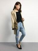 natsumi imaiさんの「<サンドバーグ直美さん着用>フレイドヘムクロップドダメージデニムスキニーパンツ(STYLEST スタイレスト)」を使ったコーディネート