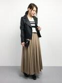 natsumi imaiさんの「★ランキング3位!<大桑マイミさん着用>合皮ライダースジャケット(STYLEST スタイレスト)」を使ったコーディネート