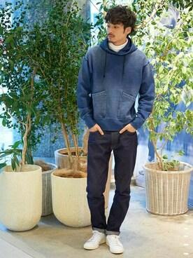 Kazukiさんの「インディゴパーカー(LE JUN|ル ジュン)」を使ったコーディネート