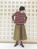 かわもとさんの「ジャージフラノボーダーTシャツ(45R|フォーティファイブ・アール)」を使ったコーディネート